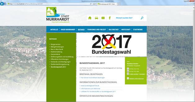 Wahlscheinbeantragung zur Bundestagswahl am 24. 09.2017