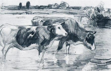 Heinrich von Zügel - Kühe an der Furt