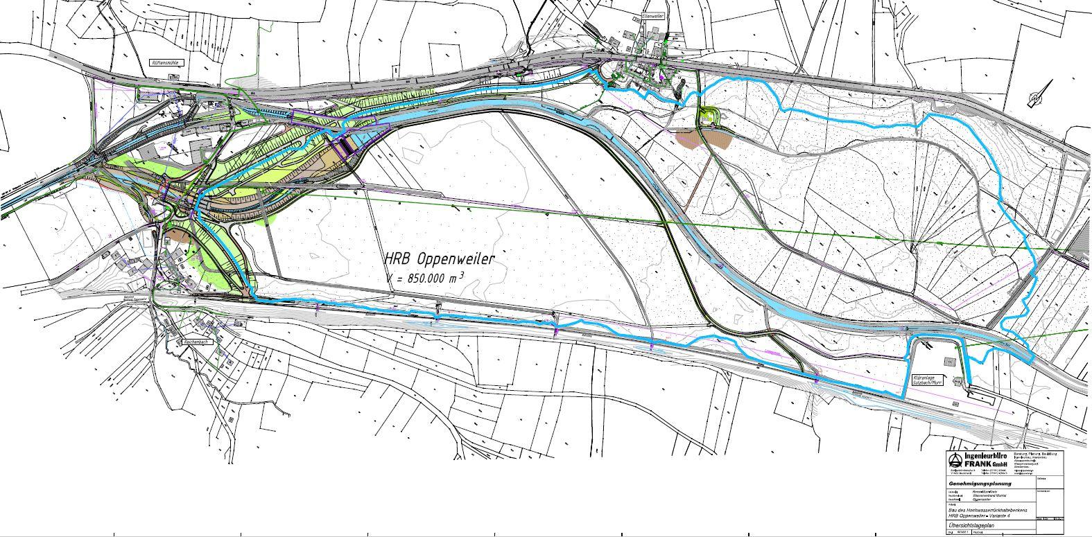 Lageplan HRB Oppenweiler planfestgestellte Variante 4