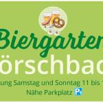 Plakat informiert über den Biergarten Hörschbach