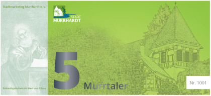 Die Vorderseite des Murrtaler 5 Euro ist grün und zeigt die Walterichskirche.