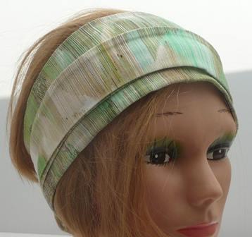 Stirnband grün beige