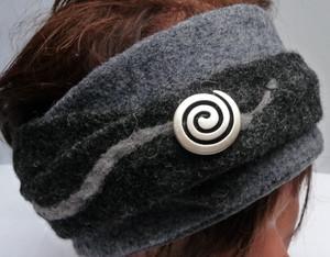 Stirnband grau schwarz Spiral
