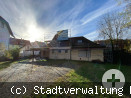 Aussenansicht eingerüstetes Gebäude Musikerheim von der Nägelestraße