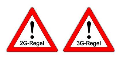 Illustration Corona 2G-Regel und 3G-Regel Schilder auf weissem Hintergrund