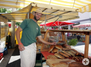 David am Backnanger Wochenmarkt