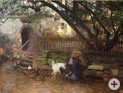 Mädchen am Brunnen mit Ziegenbock auf dem Wolkenhof