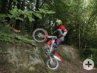 Trial-Motorrad in Aktion